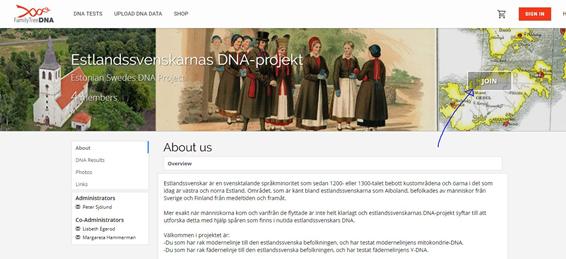 Skärmdump av DNA-projektets webb